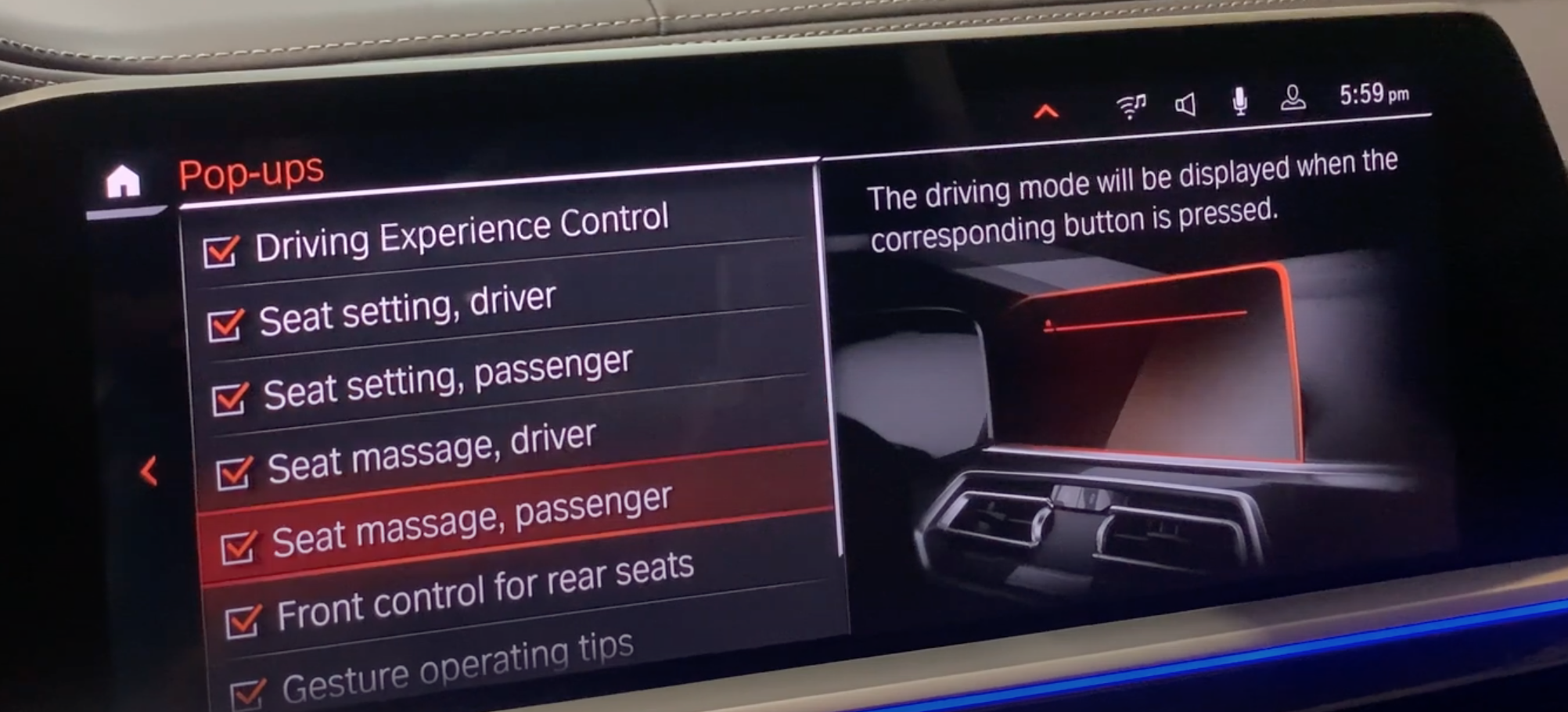 Turning on and off many features that a user desires to display on the infotainment screen