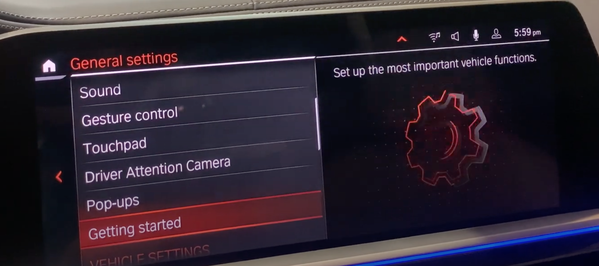 List of general settings for the infotainment settings with an icon of a gear on the side