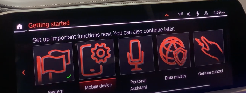 A gallery of settings with corresponding icons for general infotainment settings
