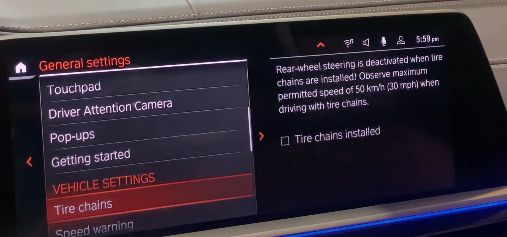 A list of various settings for the vehicle such as tire chains mode and speed warning