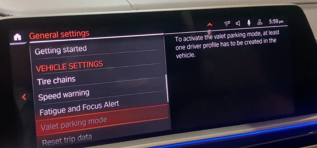 Activating valet mode for privacy from a list of vehicle settings