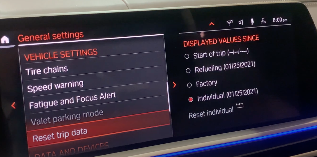 Reset trip data option selected from a list of vehicle settings with more detailed settings on the right about trip data
