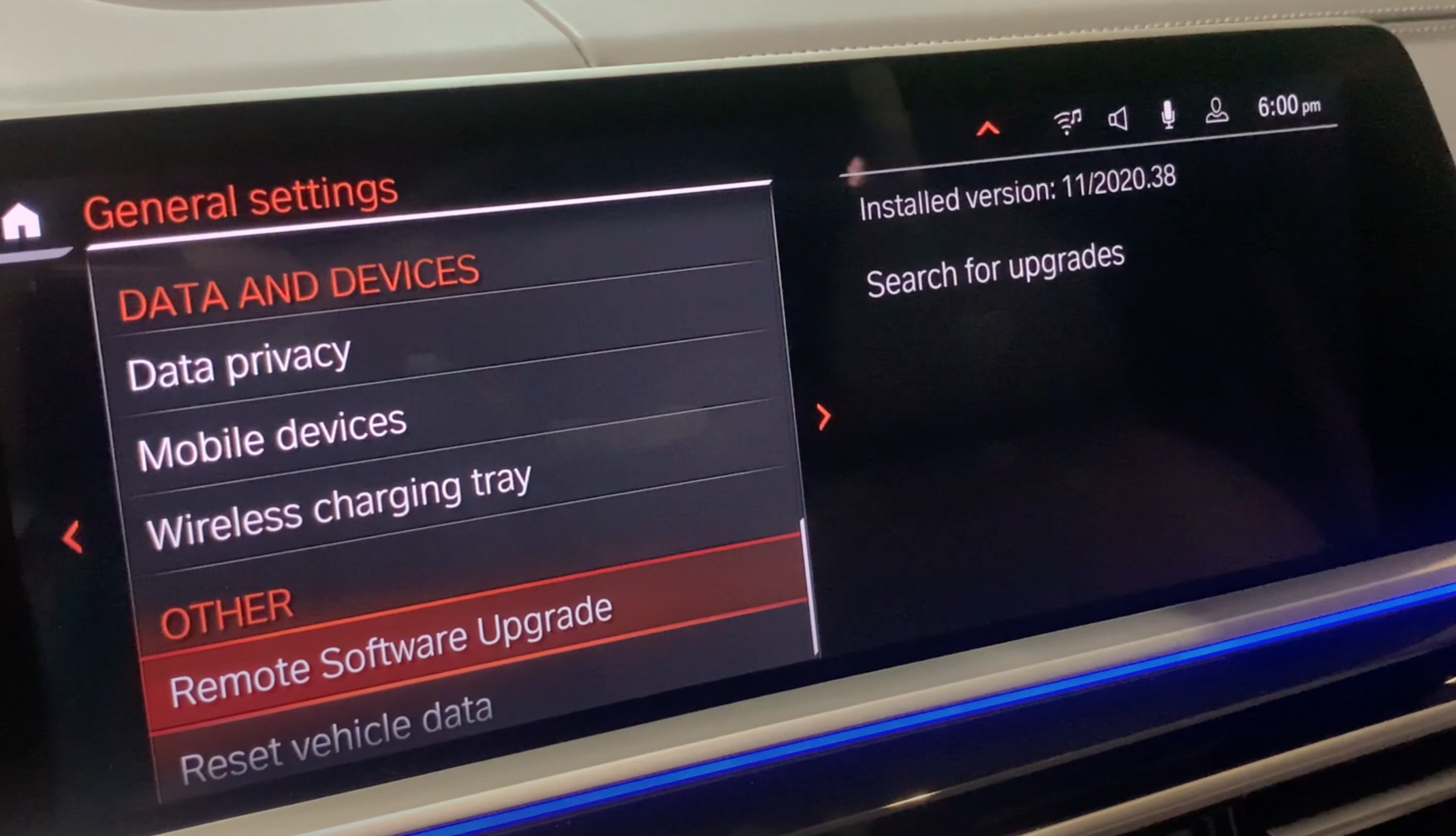 Remote software upgrade chosen from a list of general settings for the infotainment system
