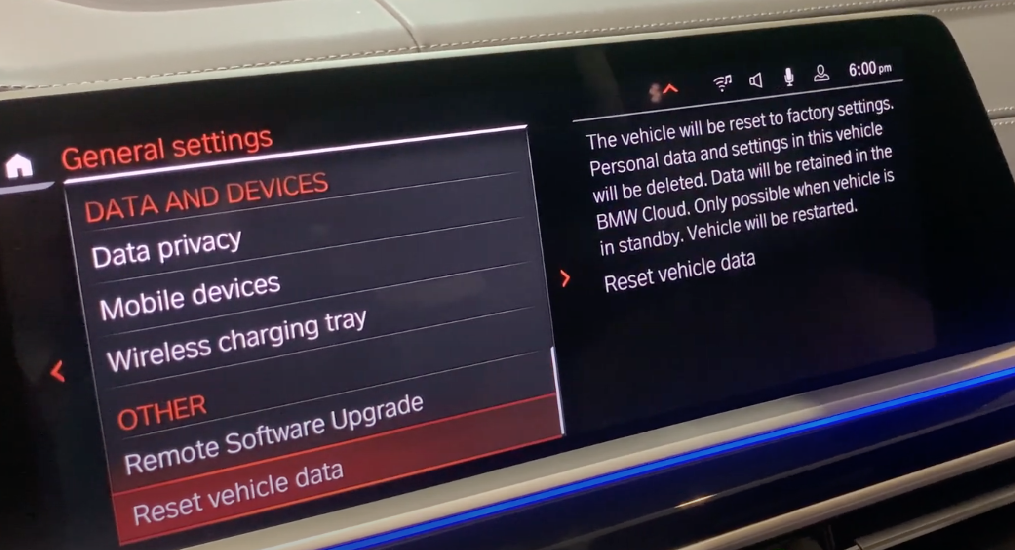 Reset vehicle data option chosen from a list of general vehicle settings