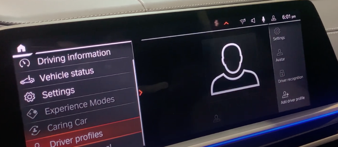 Driver profile option chosen from a list of vehicle information options and an icon of a profile on the right