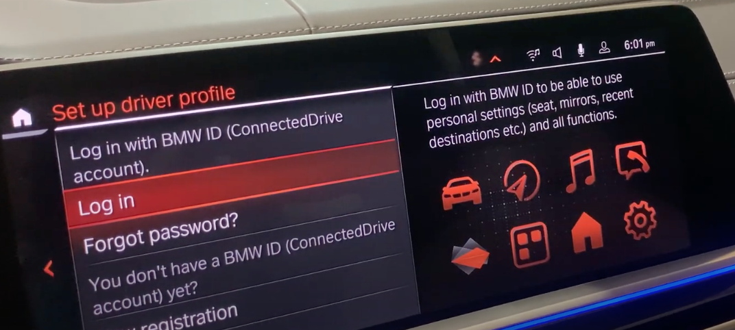 Setting up the driver profile page with the option to log in and set a password with various icons that represent the vehicle's features