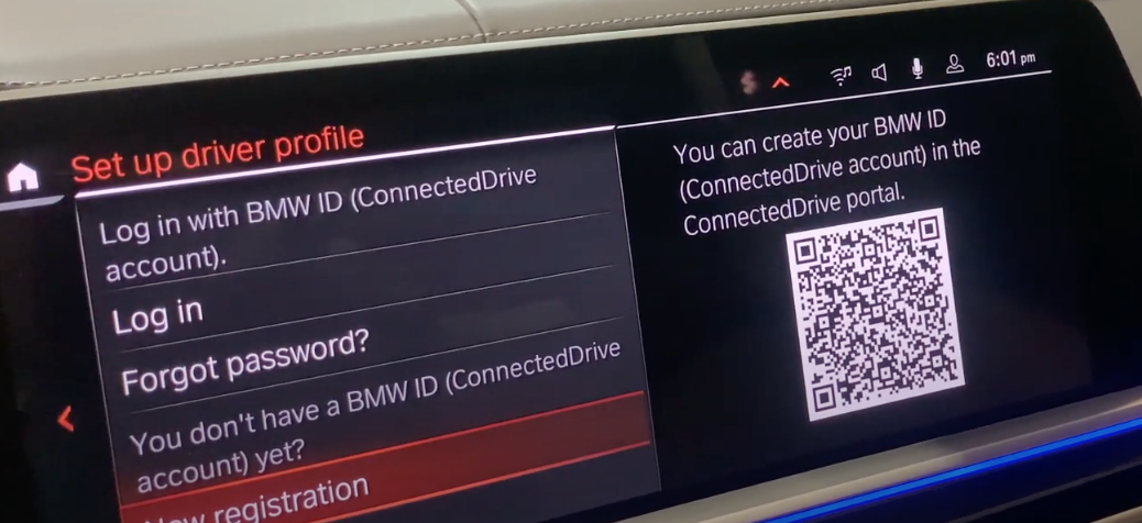 Setting up the driver profile page with the option to log in and set a password with a QR code that represent the user's ID