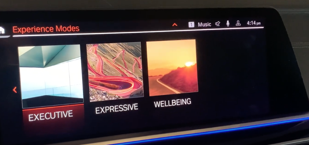 Three experience modes to chose from, executive, expressive and wellbeing