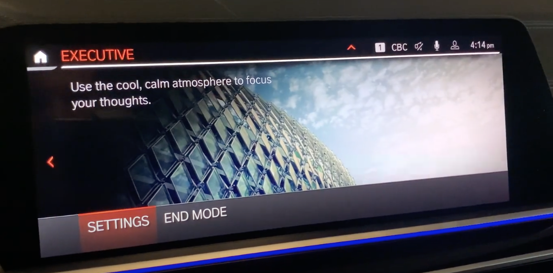 The executive mood screen with a background photo and option to choose settings or end mode