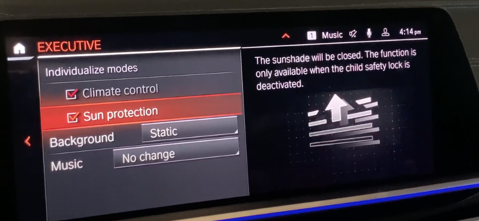 Detailed executive mood settings such as climate control and sound