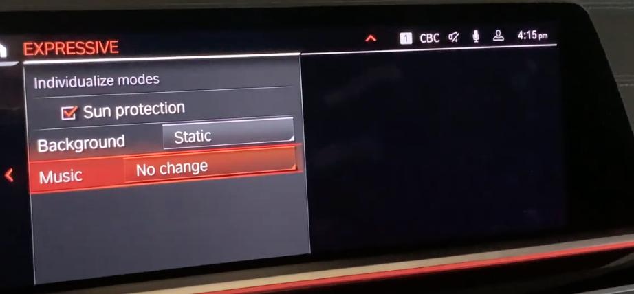 Detailed settings for the expressive mode such as climate controls and sound