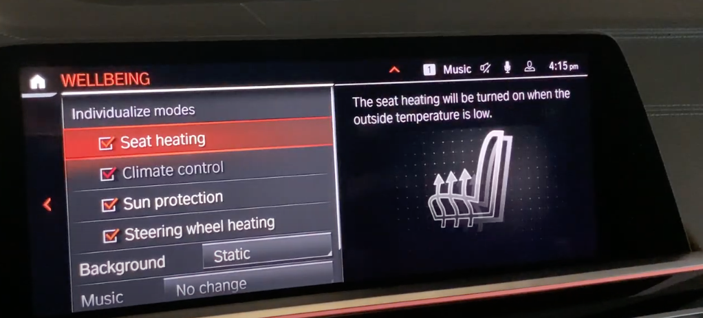 Detailed settings for the wellbeing mode such as climate controls, seat settings and sound
