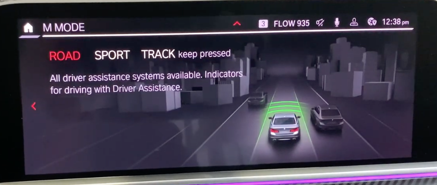 Page displaying which driver assistance settings are available in each mode