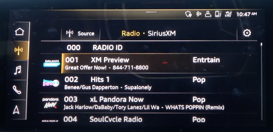 A list of radio stations to browse and choose from