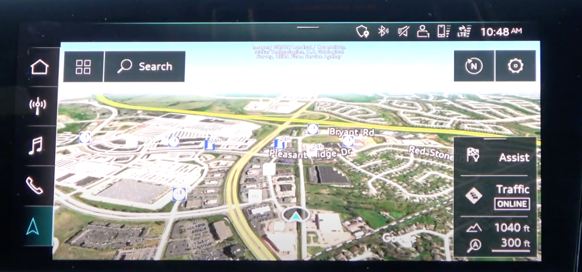 Map view with navigation tools such as search assist and traffic information