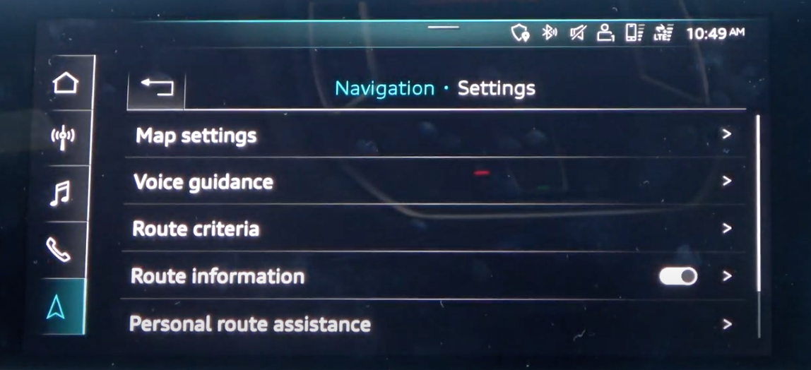 A list of various navigation settings such as map settings, voice guidance etc