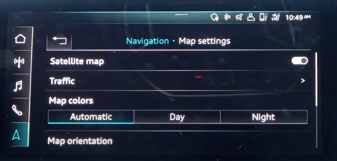 Navigation map settings such as colors and orientation