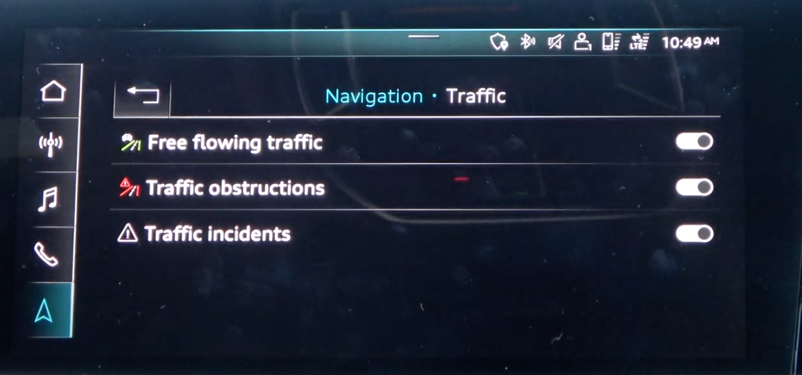 Turning on and off which traffic information a user wants to see on their map through toggles