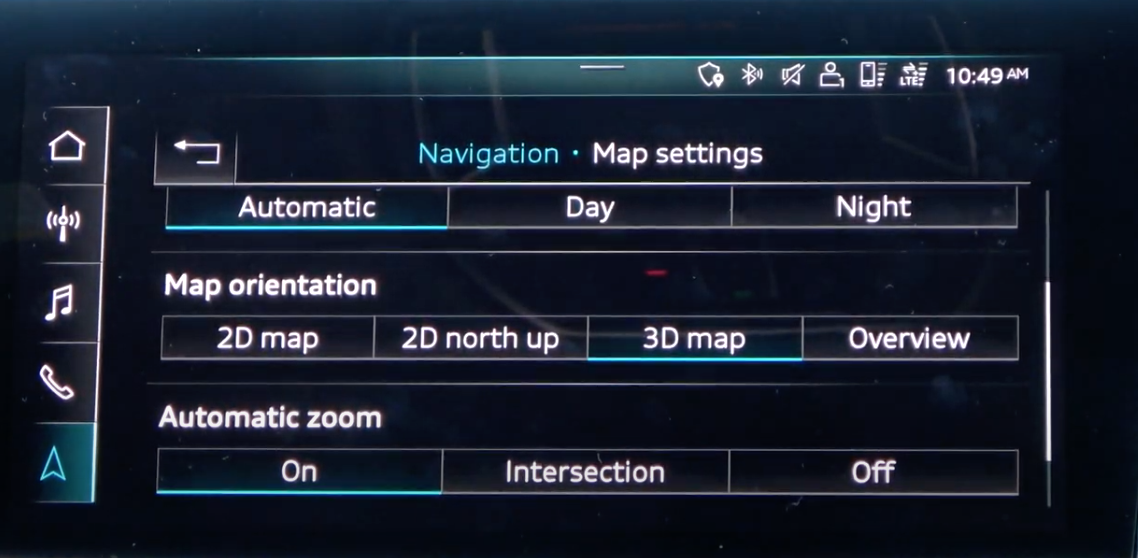 Various map settings such as orientation and zoom through toggle buttons