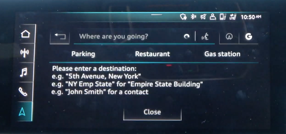 Search feature with a search bar and three shortcuts to chose from; parking, restaurant and gas station