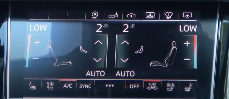 Climate control page with air and temperature settings