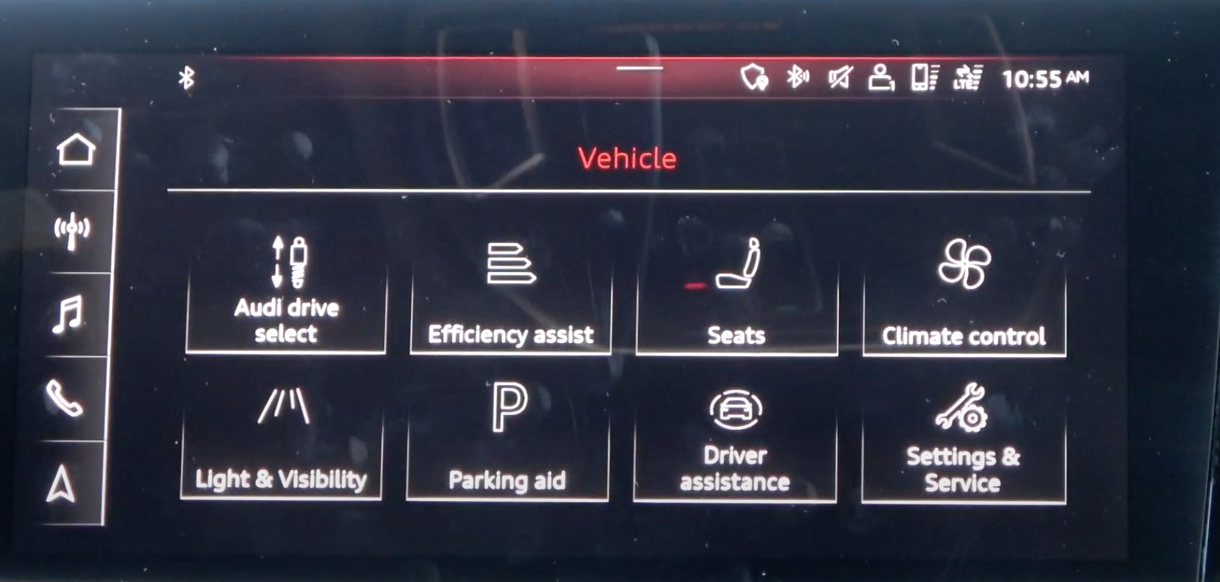 Various vehicle settings displayed as a gallery with icons