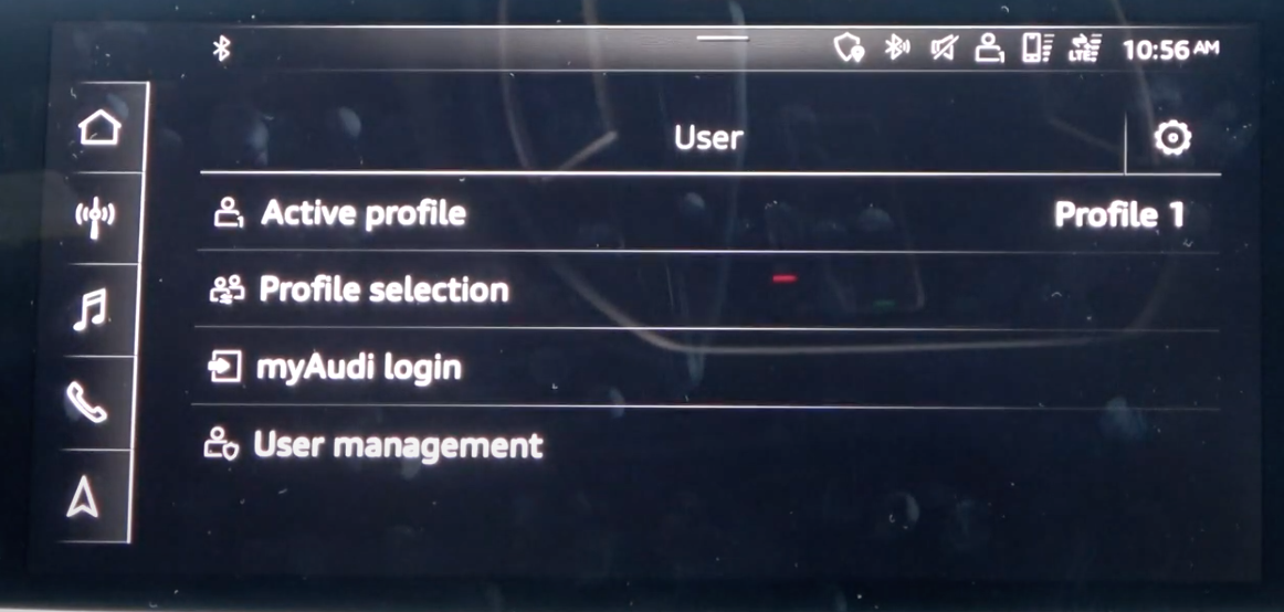 List of profile settings such as active profiles, user management and log in info