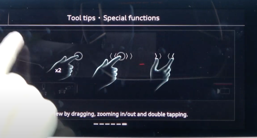 Screen showing tool tips and how a combination of hand gestures could be used to perform certain actions