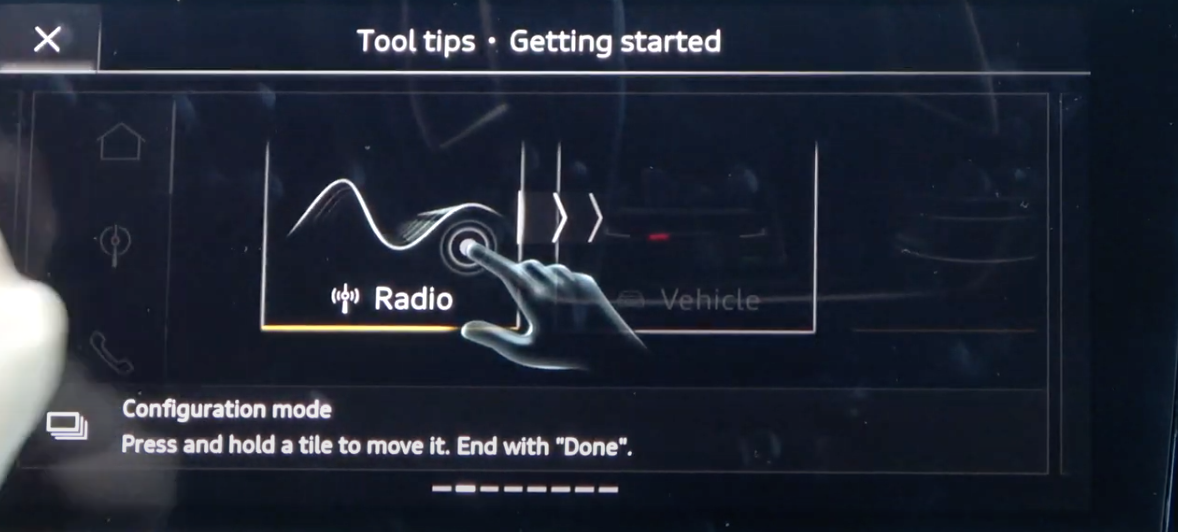 Screen showing tool tips and how a specific hand gesture could be used to perform an action