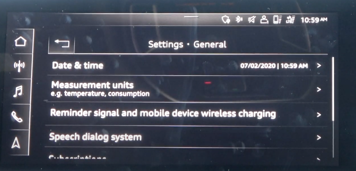 List of general infotainment settings such as date/time and units