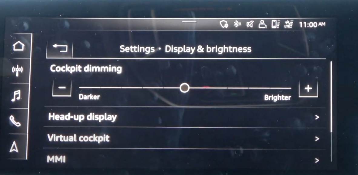 List of various display settings such as the brightness of the heads-up display, the instrument panel and the infotainment system