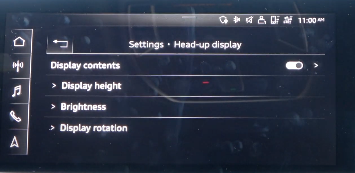 List of settings for the heads-up display such as display height, brightness etc