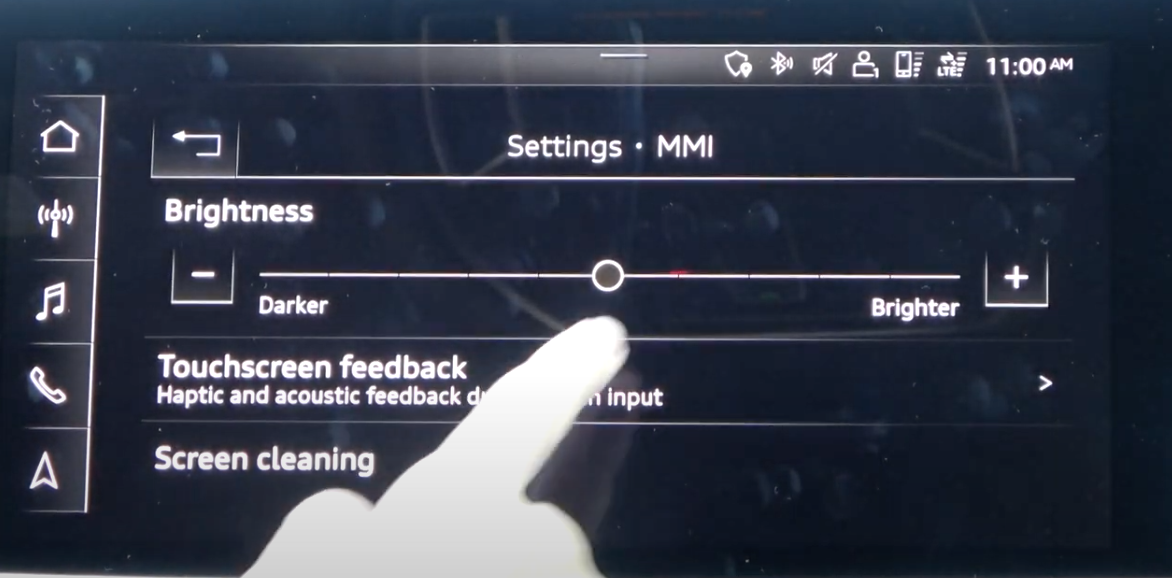 Display settings for the infotainment settings such as slider to arrange brightness and others