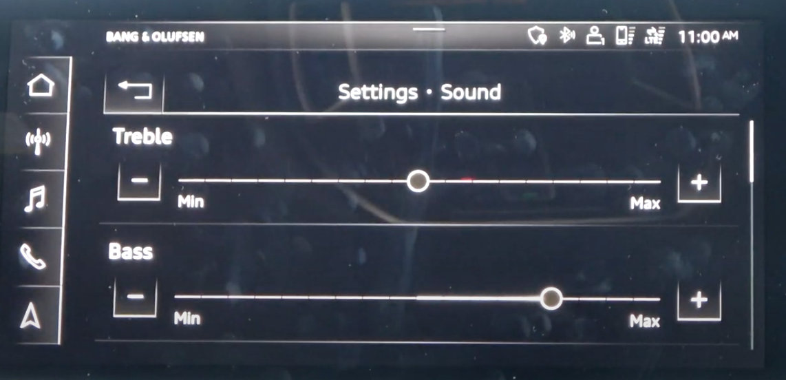 Sound settings such as treble and bass with sliders to adjust
