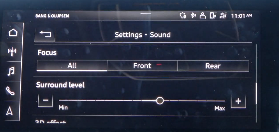 List of sound settings such as surround with a slider to adjust