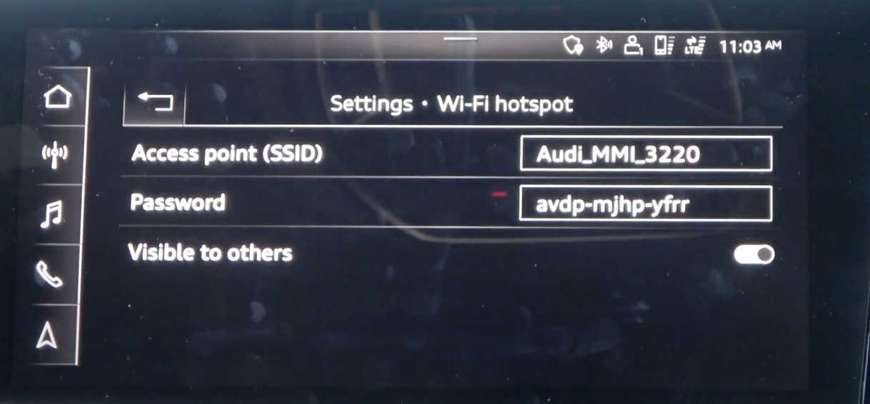 Detailed Wi-Fi settings such as access point and password