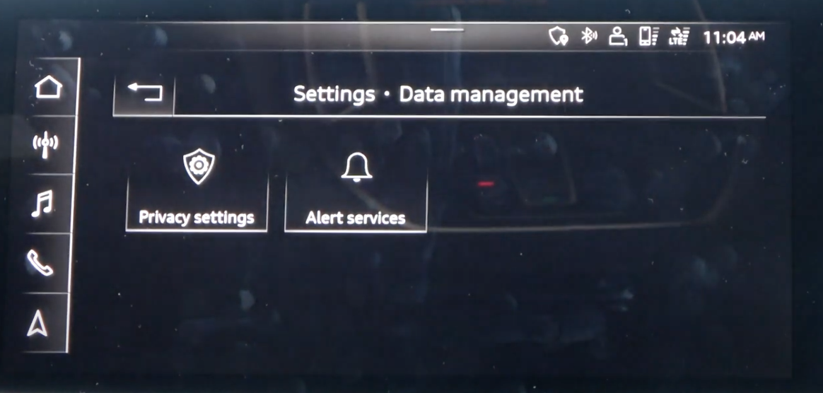 Data management settings displayed as a gallery with icons