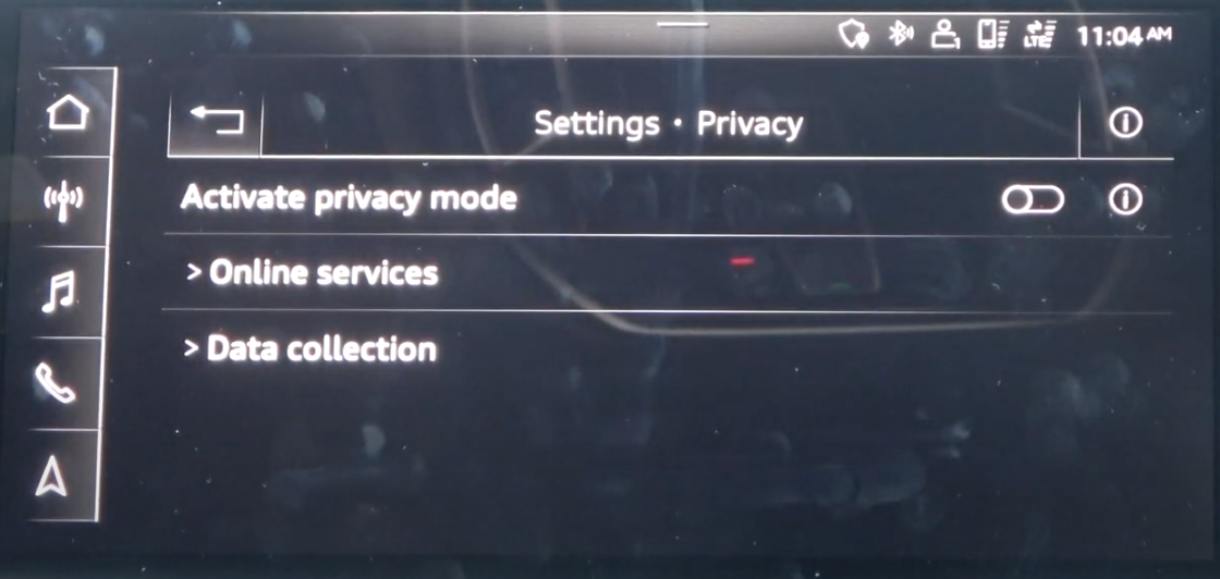 List of privacy settings such as turning and off private mode with a toggle and the option to select online services or data collection