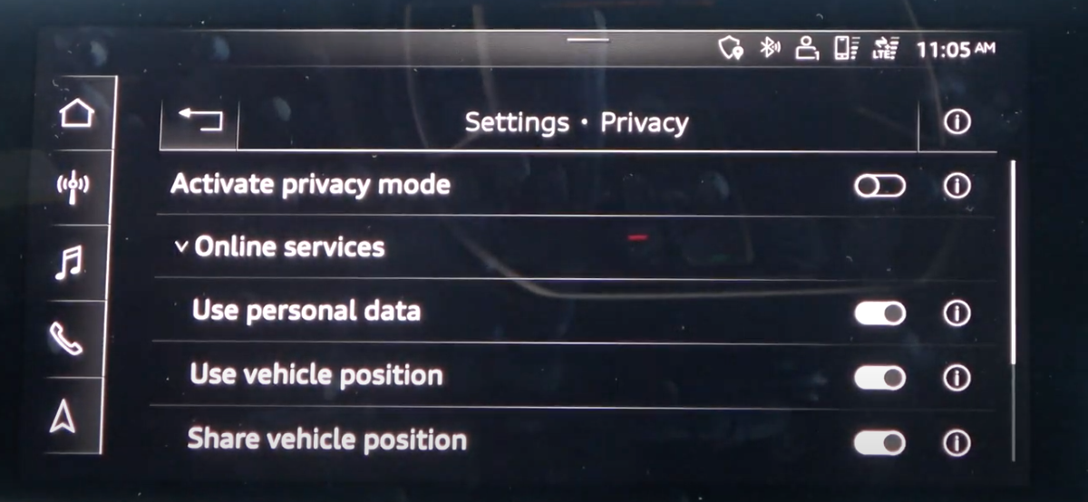 A list of privacy settings and option to turn features on and off through toggles