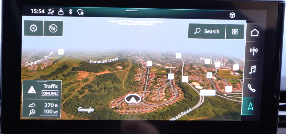 3D map view with navigation tools such as a search icon, compass and traffic information