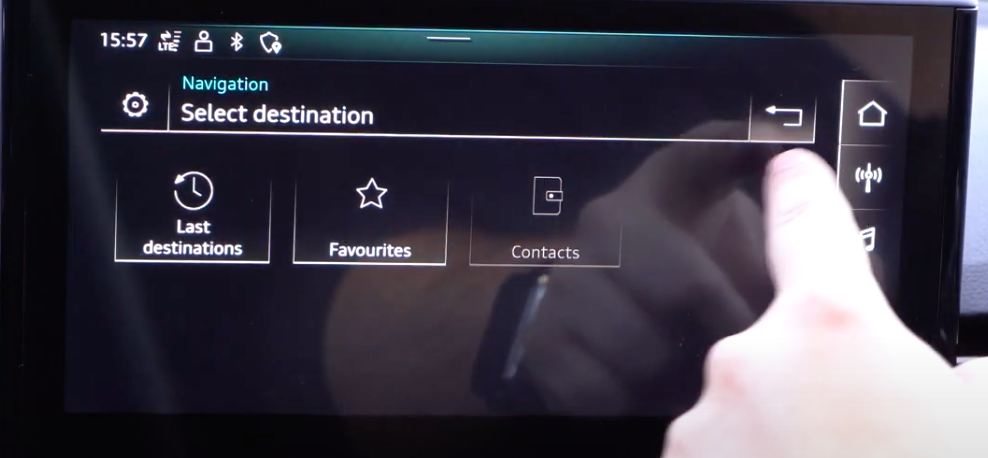 List of saved destinations displayed as a gallery with icons such as last destination and favorites