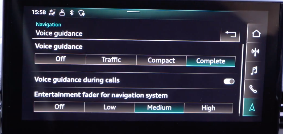 List of settings for the voice assistant