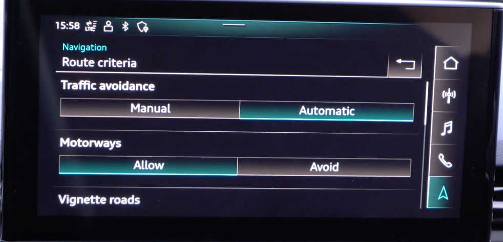Changing the route criteria through toggle buttons such as putting traffic avoidance to manual or automatic