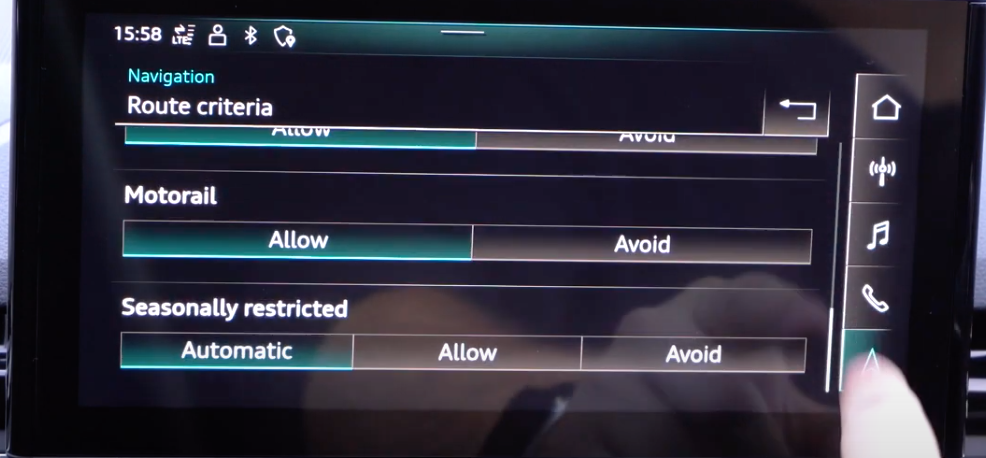 Settings for the route criteria and options to choose from through toggle menus