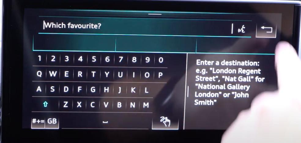 Entering a destination through a digital keyboard