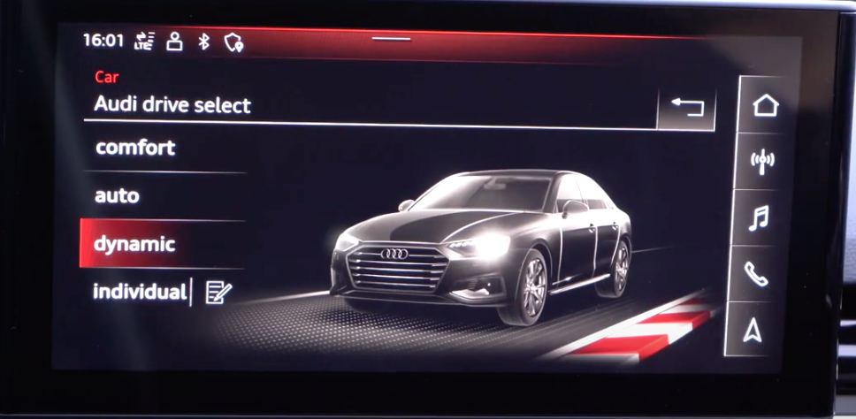 Selecting driving modes with a 3D model of a vehicle on the right