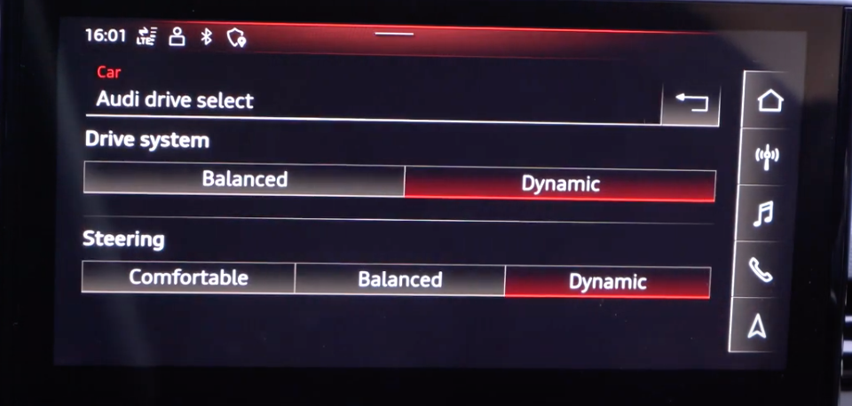 Adjusting the steering and drive system according to driving modes