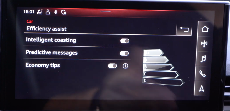 Turning on and off efficiency assist settings through toggles