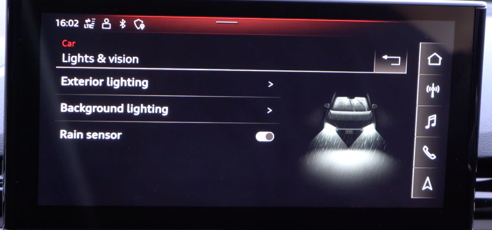 A list of various exterior lighting settings with an illustration of a car in rain with high beams on