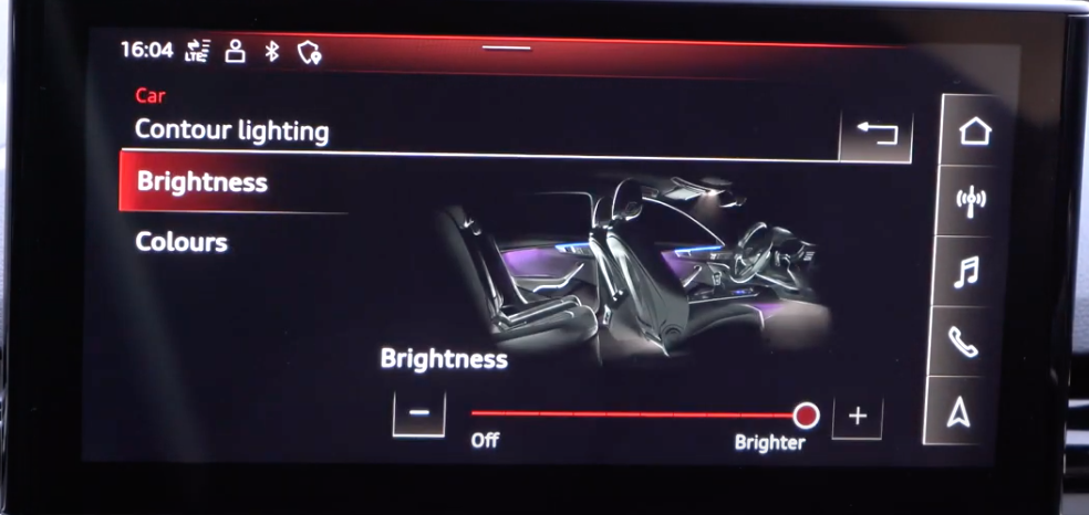 Adjusting the brightness of the interior lights of the vehicle through a slider